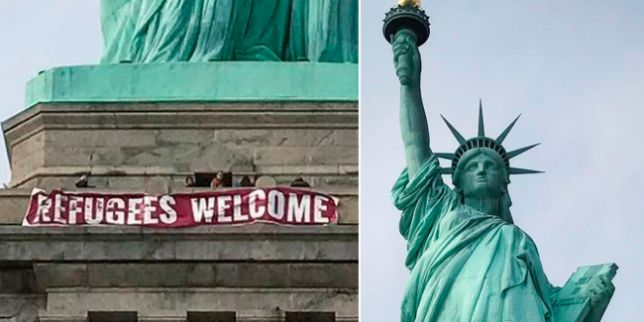 "Woman Scales Statue of Liberty After Protestors Hang ""Abolish ICE"" Banner"